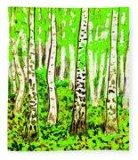 Birch Forest, Painting Fleece Blanket