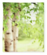 Birch In Spring Fleece Blanket