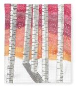 Birch In The Snow Fleece Blanket