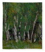 Birch Tree Panorama Fleece Blanket