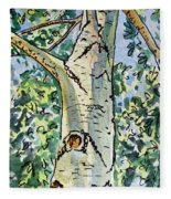 Birch Tree Sketchbook Project Down My Street Fleece Blanket