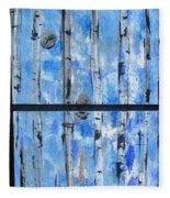 Birch Trees - Blue Fleece Blanket
