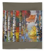 Birch Trees By The Lake Fleece Blanket