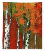 Birch Trees In An Autumn Forest Fleece Blanket