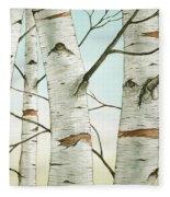 Birch Trees In Late Autumn Fleece Blanket