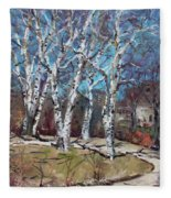 Birch Trees Next Door Fleece Blanket