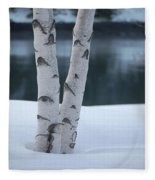 Birch Twins In Snow Fleece Blanket
