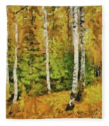 Birches And Spruces Fleece Blanket