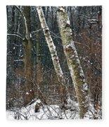 Birches During A Snowfall Fleece Blanket