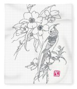 Bird And Flowers Fleece Blanket