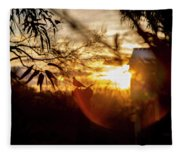 Bird At Sunset Color Fleece Blanket