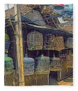 Bird Cages Vintage Photo Indonesia Fleece Blanket