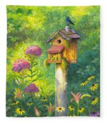 Bird House And Bluebird  Fleece Blanket