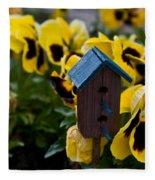 Bird House And Pansies Fleece Blanket