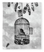 Bird In A Cage-black Fleece Blanket