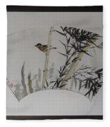 Bird In Bamboo- Fan Painting Fleece Blanket