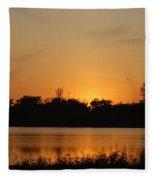 Bird In The Sunset Fleece Blanket