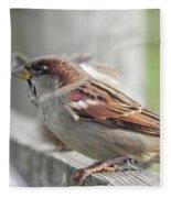 Bird On A Fence Fleece Blanket