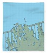 Bird On Fence Aqua II Fleece Blanket