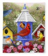 Bird Painting - Primary Colors Fleece Blanket