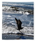 Bird Taking Flight On The Shore Fleece Blanket