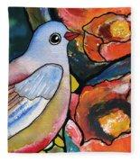 Bird With Prickly Pear Cactus Flowers Fleece Blanket