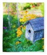 Birdhouse And Flowers Fleece Blanket