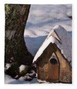 Birdhouse In Snow Fleece Blanket