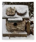 Birdhouse In The Snow Fleece Blanket