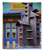 Birdhouses For Colorful Birds 2 Fleece Blanket