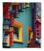 Birdhouses For Colorful Birds 3 Fleece Blanket
