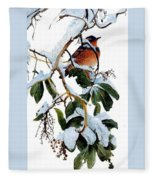 Birds 05 Varied Thrush On Arbutus Robert Bateman Sqs Robert Bateman Fleece Blanket