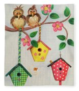 Birds And Birdhouse Fleece Blanket