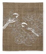 Birds And Burlap 2 Fleece Blanket