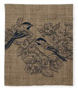 Birds And Burlap 1 Fleece Blanket