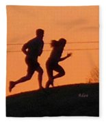 Birds And Fun At Butler Park Austin - Jogging - Sunset Run Fleece Blanket