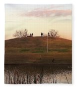 Birds And Fun At Butler Park Austin - Silhouettes 1 Detail Fleece Blanket