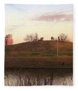 Birds And Fun At Butler Park Austin - Silhouettes 1 Panorama Fleece Blanket