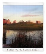 Birds And Fun At Butler Park Austin - Silhouettes 1 Poster And Greeting Card Fleece Blanket