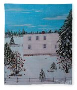 Birds Berries And November Snow Fleece Blanket