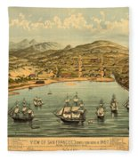 Birds Eye View Map Of San Francisco 1846 Fleece Blanket