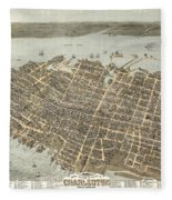 Birds Eye View Of Charleston Fleece Blanket
