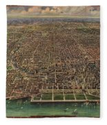 Birds Eye View Of Chicago 1916 Fleece Blanket