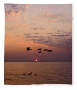 Birds Flying And Floating At Sunrise Fleece Blanket