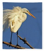Birds - Great Egret Fleece Blanket