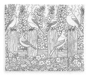 Birds In Flower Garden Coloring Page Fleece Blanket