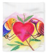 Birds In Love 01 Fleece Blanket