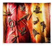 Birds Of A Decor Feather Fleece Blanket