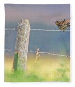 Birds On A Barbed Wire Fence Fleece Blanket