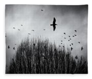 Birds Over Bush Fleece Blanket